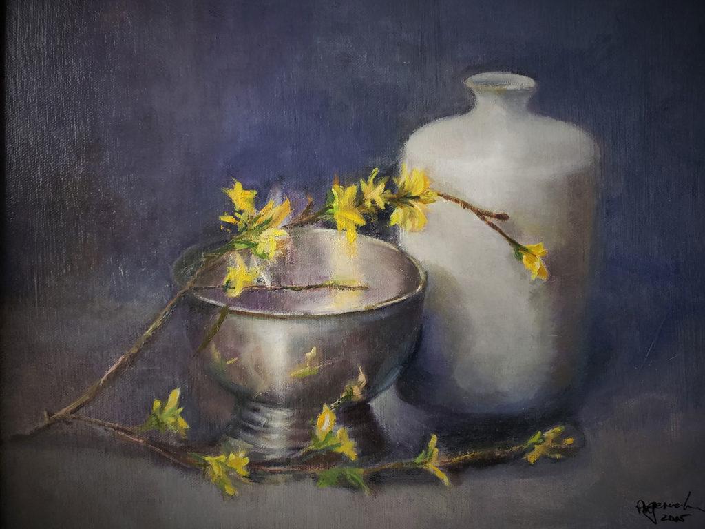 Spring Forsythia with Porcelain