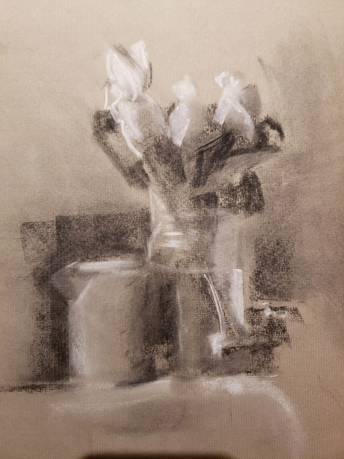 White Rose Buds, Charcoal (SOLD)